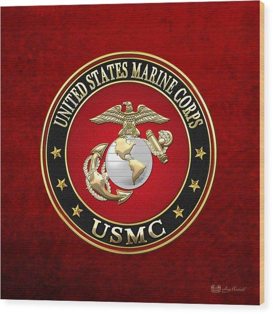 U S M C Eagle Globe And Anchor - E G A On Red Velvet Wood Print