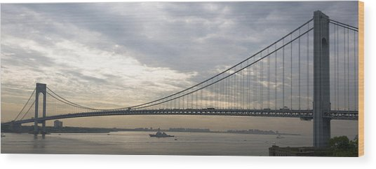 Uss Cole And The Verrazano Narrows Bridge Wood Print
