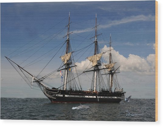 Uss Constitution - Featured In Comfortable Art Group Wood Print