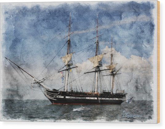 Uss Constitution On Canvas - Featured In 'manufactured Objects' Group Wood Print