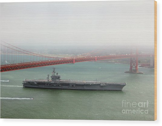 Uss Nimitz Cvn-68 Golden Gate Bridge Wood Print