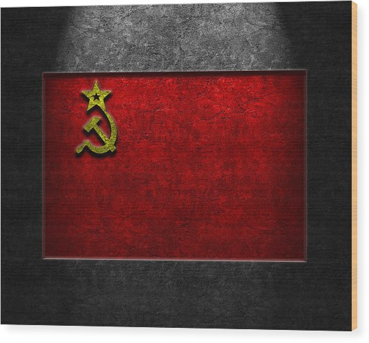 Ussr Flag Stone Texture Wood Print