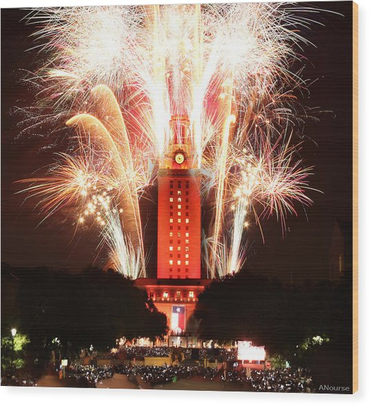 Ut Tower 2013 Fireworks Wood Print