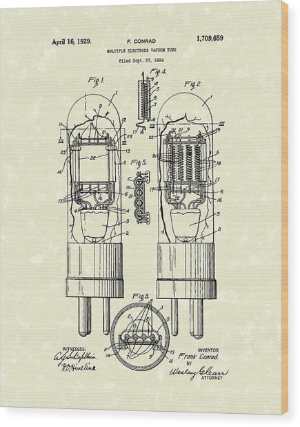 Vacuum Tube 1929 Patent Art Wood Print