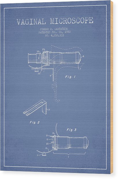 Vaginal Microscope Patent From 1980 - Light Blue Wood Print by Aged Pixel