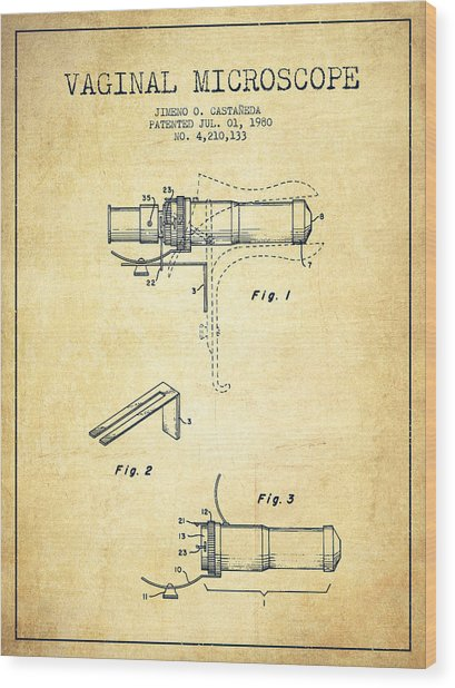 Vaginal Microscope Patent From 1980 - Vintage Wood Print by Aged Pixel