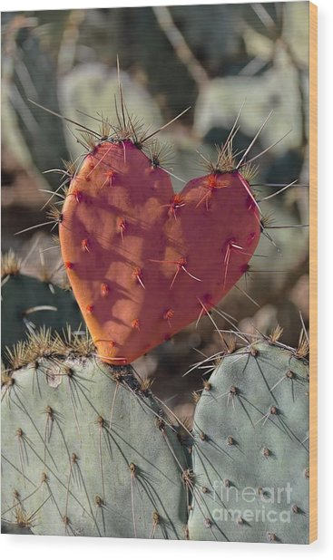 Valentine Prickly Pear Cactus Wood Print
