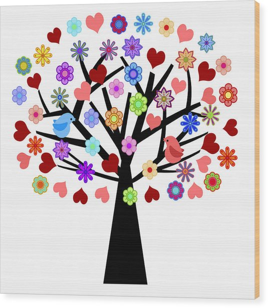 Valentines Day Tree With Love Birds Hearts Flowers Wood Print