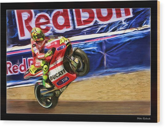 Valentino Rossi Ducati Wood Print