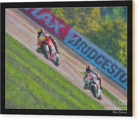 Valentino Rossi Leads Marco Simoncelli Wood Print