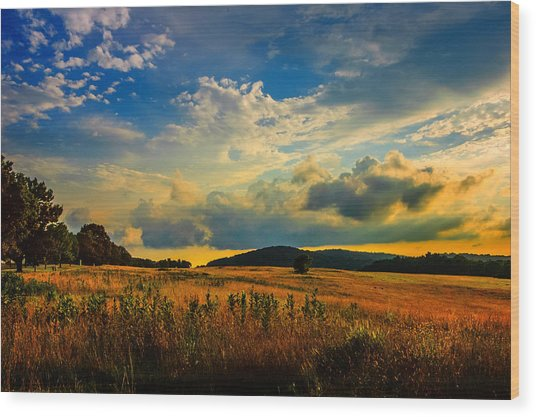 Valley Forge Sunset Wood Print