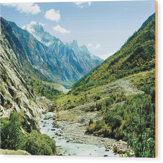 Valley Of River Ganga In Himalyas Mountain Wood Print