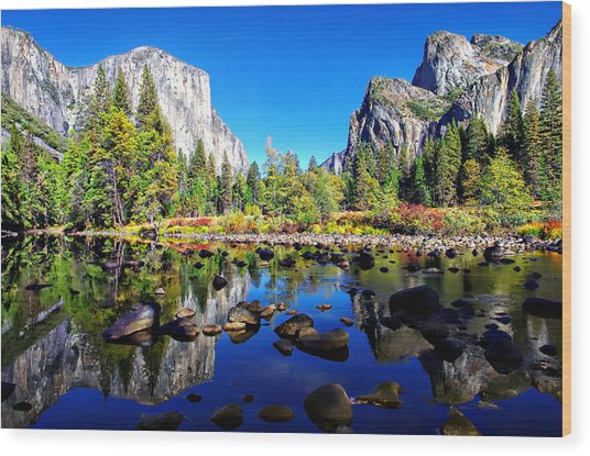 Valley View Reflection Yosemite National Park Wood Print