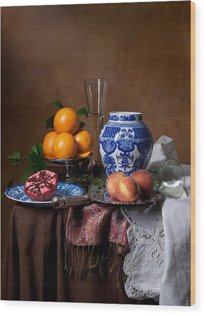 Van Beijeren - Banquet With Chinese Porcelain And Fruits Wood Print