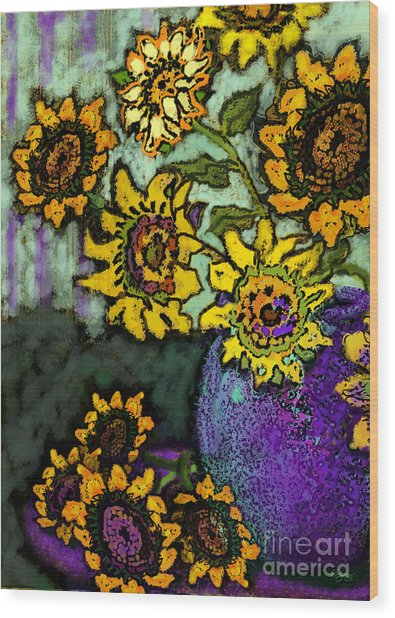 Van Gogh Sunflowers Cover Wood Print