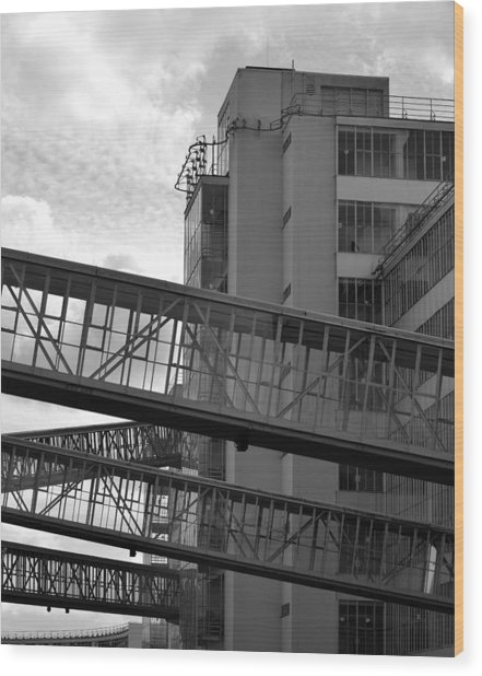 Van Nelle Factory Bw II Wood Print by Eric Keesen