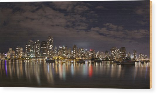 Vancouver At Night Wood Print