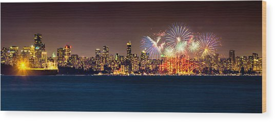 Vancouver Celebration Of Light Fireworks 2013 - Day 2 Wood Print