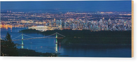 Vancouver From Cypress Mountain Wood Print