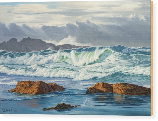 Vancouver Island Surf Wood Print by Paul Krapf