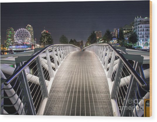 Vancouver Olympic Village Canoe Bridge - By Sabine Edrissi  Wood Print