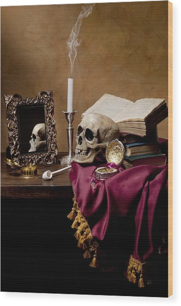 Vanitas - Skull-mirror-books And Candlestick Wood Print