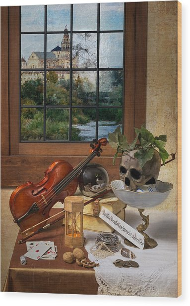 Vanitas With Music Instruments And Window Wood Print