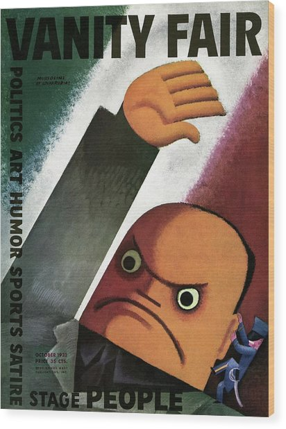 Vanity Fair Cover Featuring  A Caricature Wood Print by Miguel Covarrubias