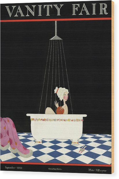 Vanity Fair Cover Featuring A Woman In A Bathtub Wood Print