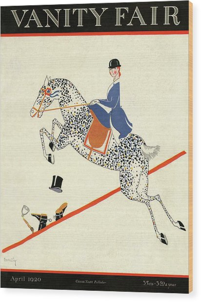 Vanity Fair Cover Featuring A Woman On A Horse Wood Print