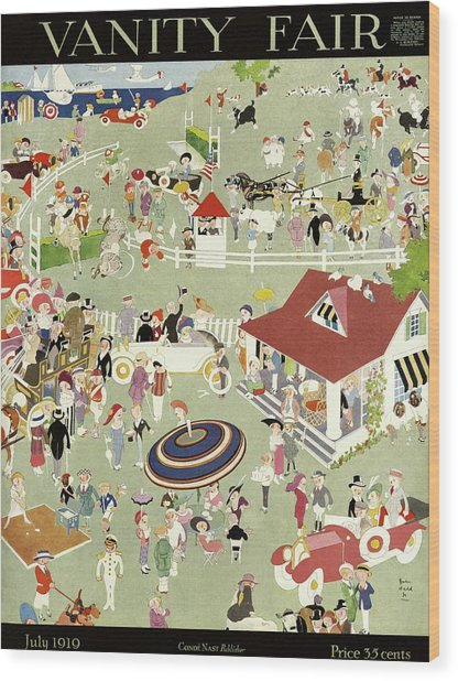 Vanity Fair Cover Featuring Activities Of Country Wood Print by John Held Jr