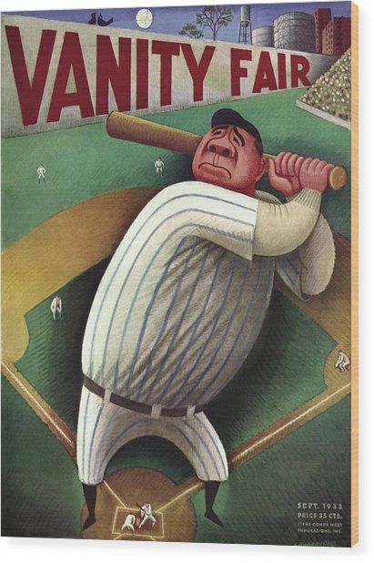 Vanity Fair Cover Featuring Babe Ruth Wood Print by Miguel Covarrubias