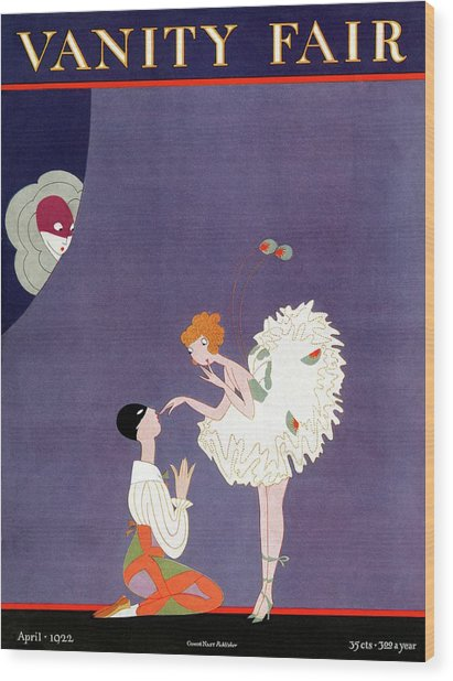 Vanity Fair Cover Featuring Dancers Flirting Wood Print by A. H. Fish