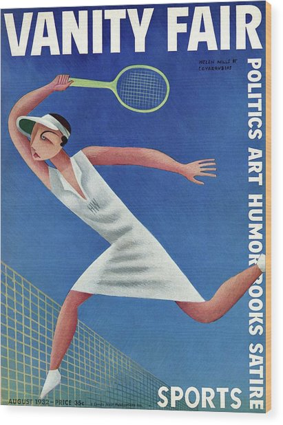 Vanity Fair Cover Featuring Helen Wills Playing Wood Print by Miguel Covarrubias