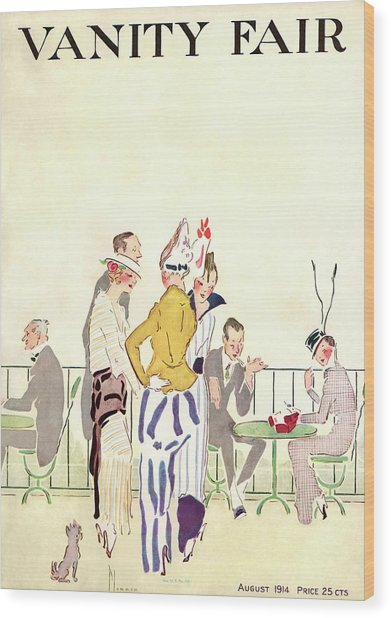 Vanity Fair Cover Featuring People At An Outdoor Wood Print by Ethel Plummer