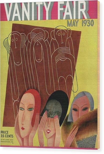 Vanity Fair Cover Featuring Three Monkeys Wood Print by Miguel Covarrubias