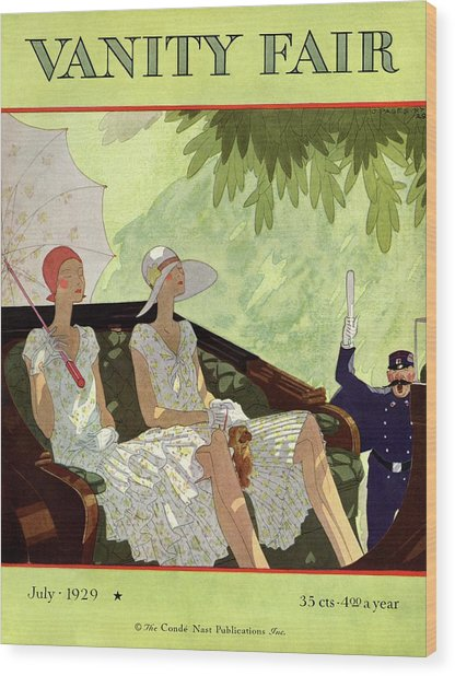 Vanity Fair Cover Featuring Two Women Sitting Wood Print by Jean Pages
