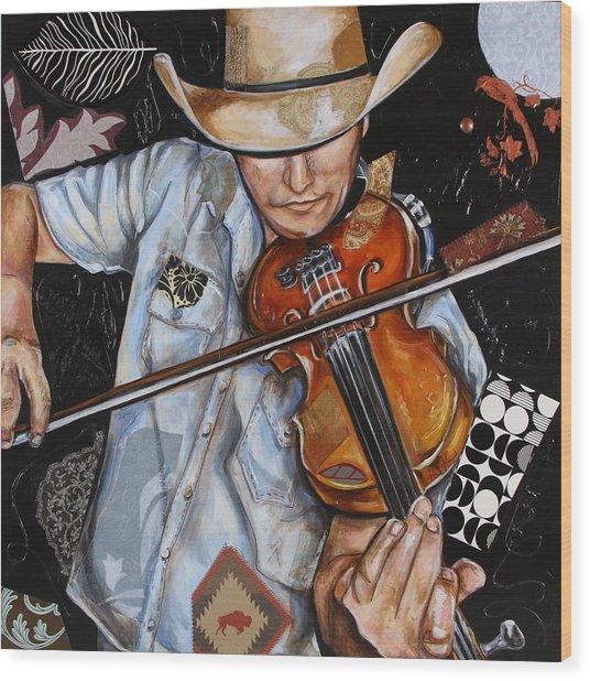Vaquero De The Fiddle Wood Print