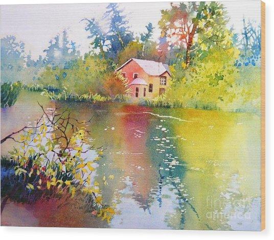 Variations Of Lake Scene Wood Print