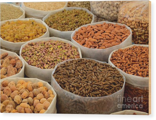 Variety Of Raw Nuts For Sale At Outdoor Street Market Karachi Pakistan Wood Print