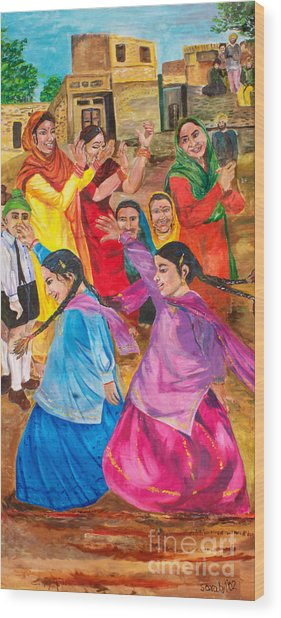 Vasakhi In A Punjab Village Wood Print