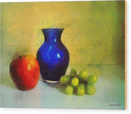 Vase And Fruits Wood Print