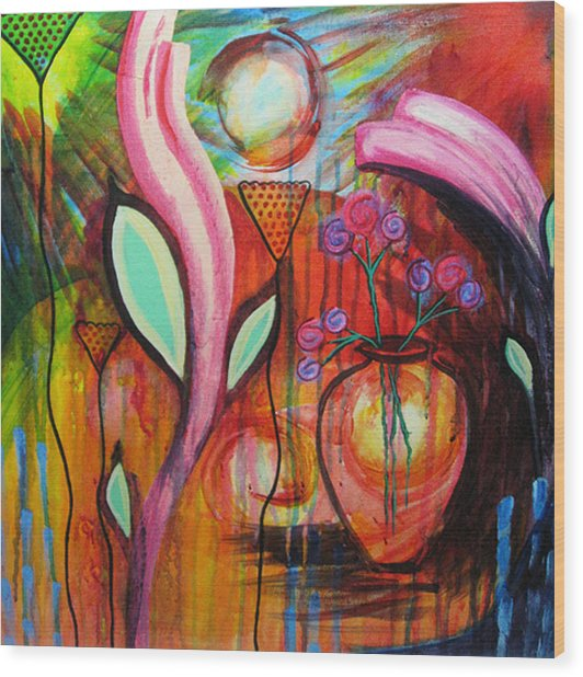 Vase In Blooms Wood Print by Brenda Nachreiner