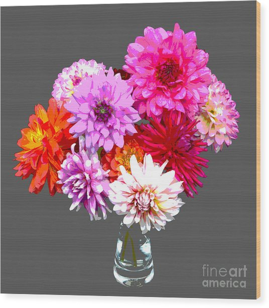 Vase Of Bright Dahlia Flowers Posterized Wood Print by Rosemary Calvert