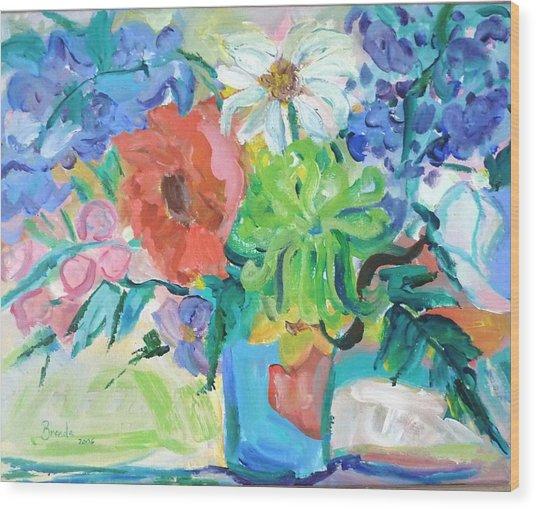 Vase Of Flowers Wood Print by Brenda Ruark
