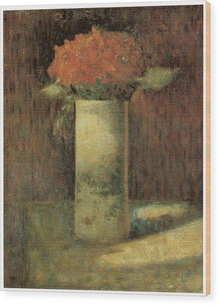 Vase Of Flowers Wood Print by Georges Seurat