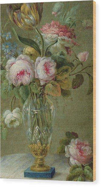 Vase Of Flowers On A Table Wood Print