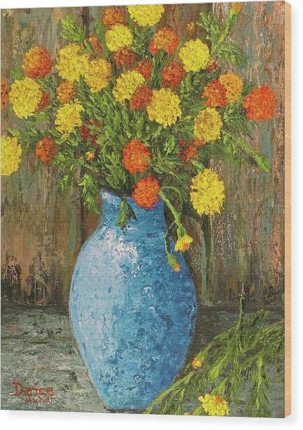 Vase Of Marigolds Wood Print