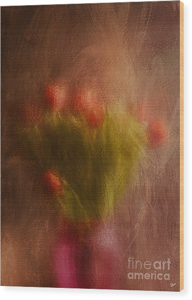 Vase Of Tulips  Wood Print