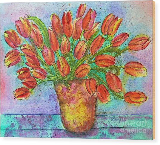 Vase Of Tulips Wood Print by Dion Dior